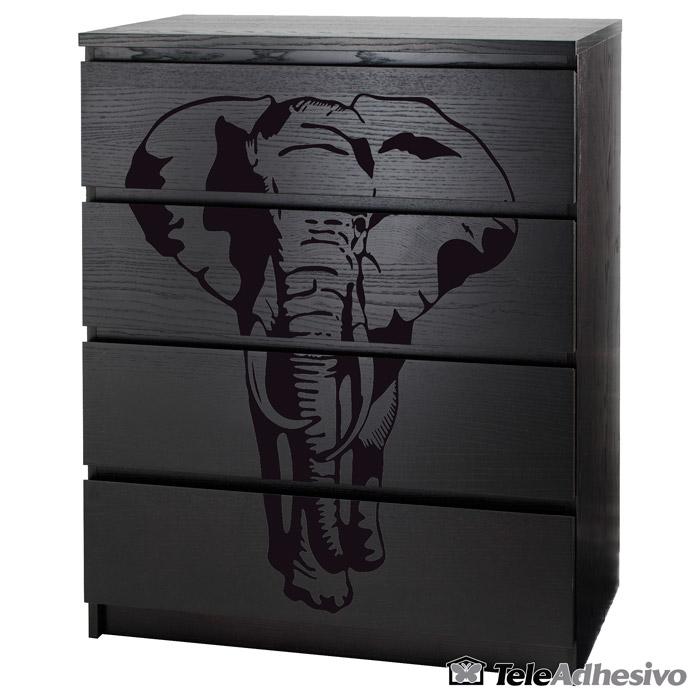 Cómoda Malm de Ikea personalizada con vinilo de elefante negro