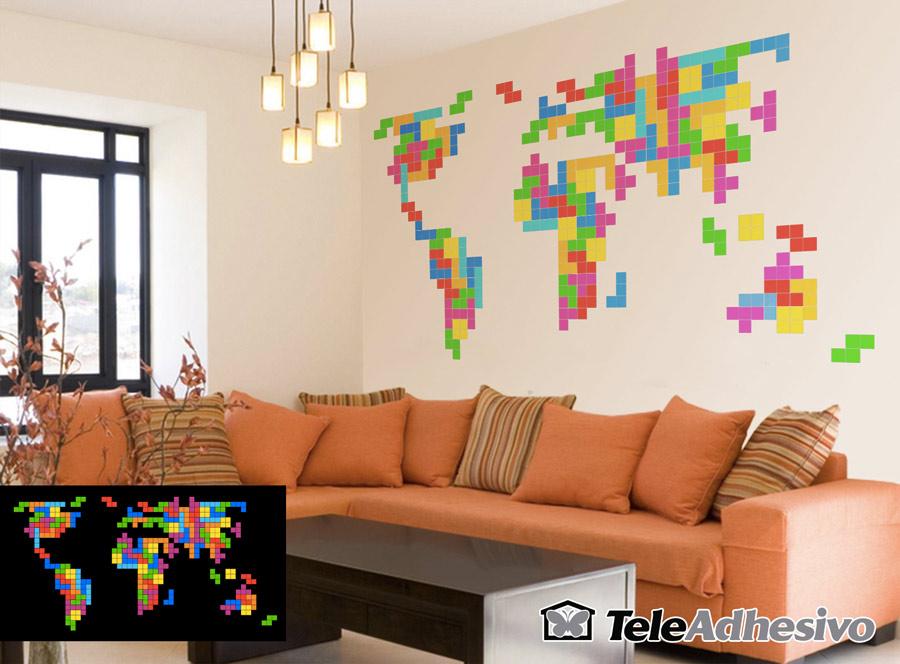 Diseño vinilo con piezas de Tetris: mapa del mundo