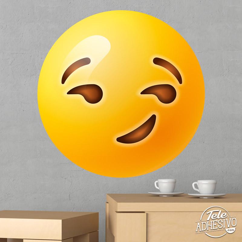 Emoticono emoji vinilo sonrisa maliciosa