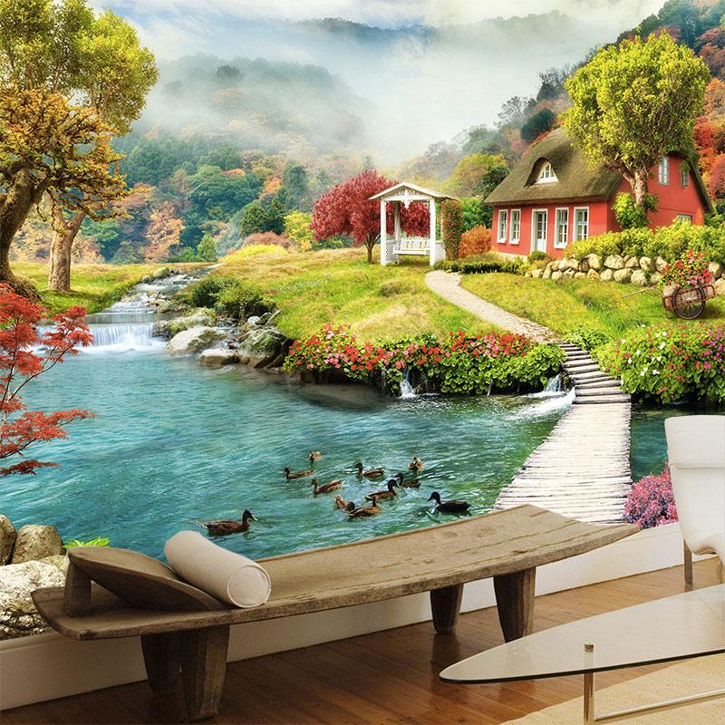 Fotomural casa lago