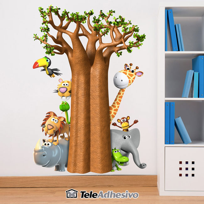 Vinilo infantil pared animales