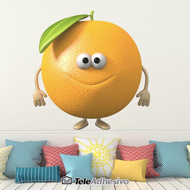 Vinilo infantil pared fruta naranja