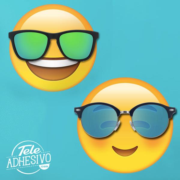 Vinilos emoji con gafas de sol reales