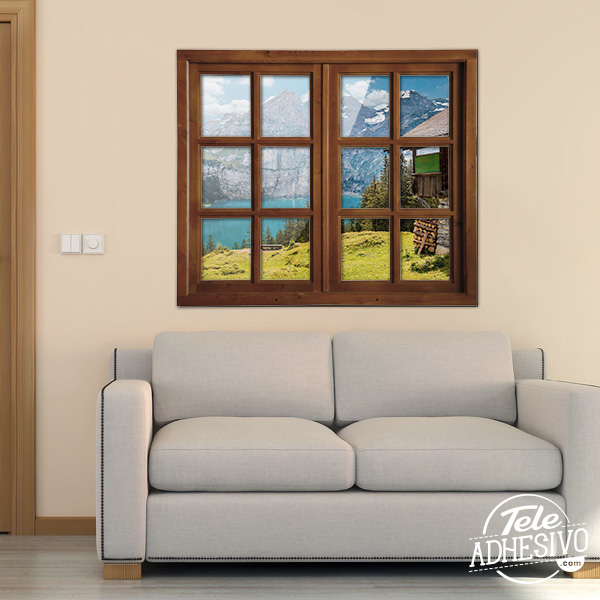 Vinilo ventana real con fotomural de paisaje