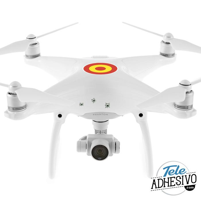 Pegatina dron balazos y bandera de España