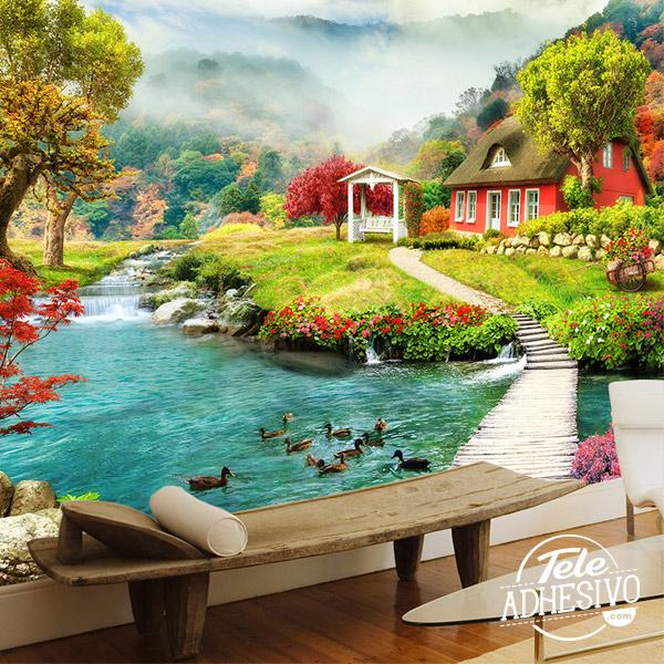 Fotomural casa en el río