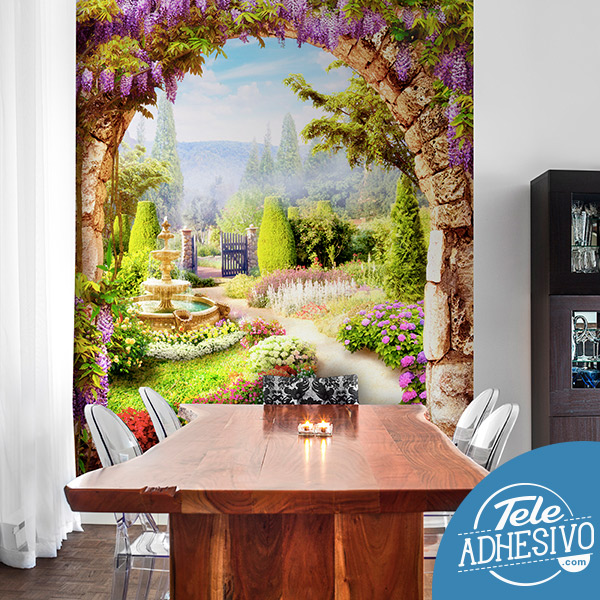 Fotomural pintura jardín de flores