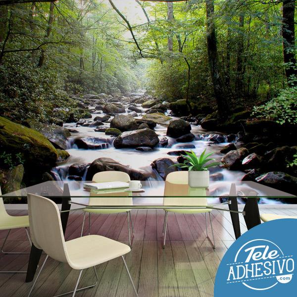 Fotomural río en el bosque