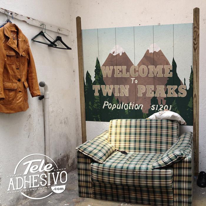 Cartel vinilo pueblo Welcome to Twin Peaks