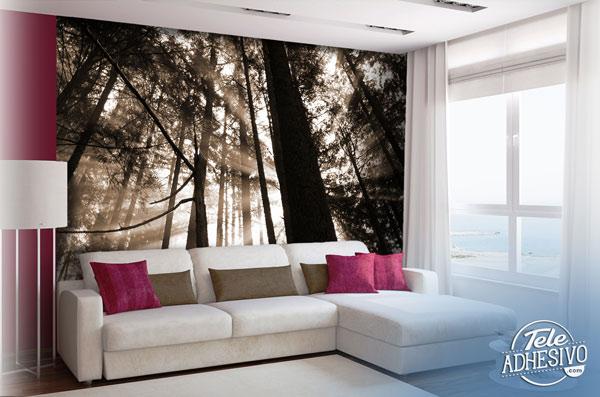 Fotomural bosque blanco y negro