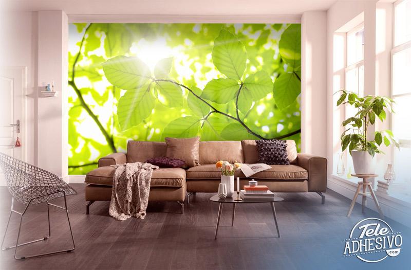 Fotomural hojas verdes