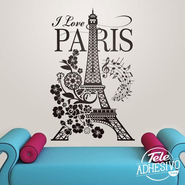 Vinilo Torre Eiffel I Love París