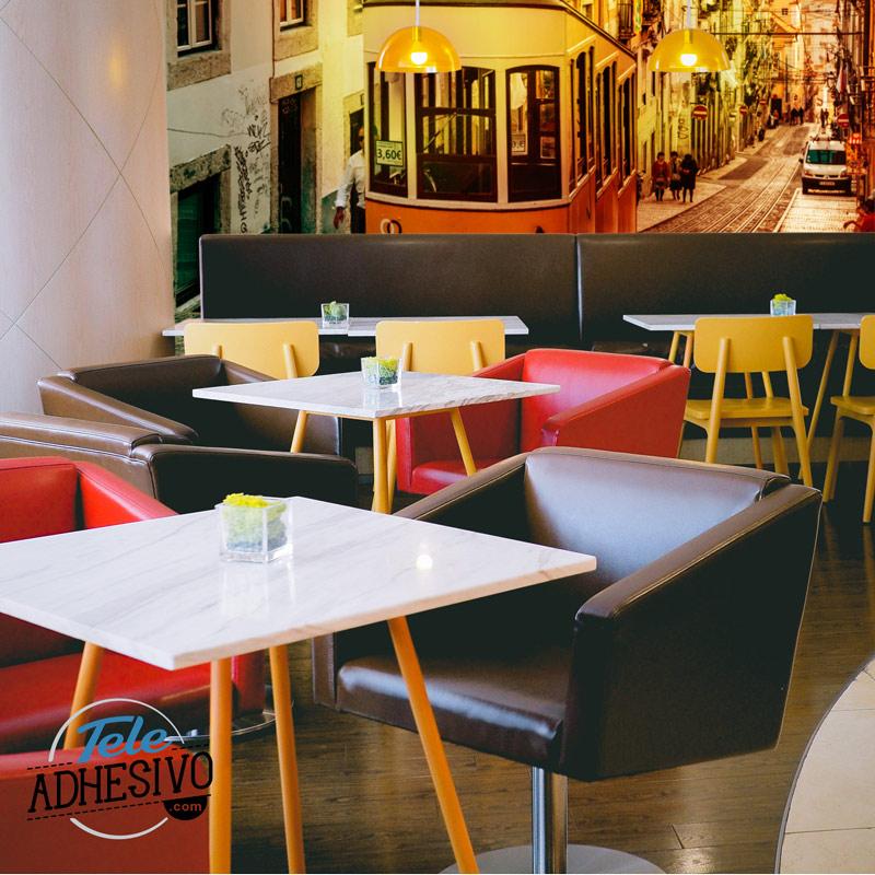 Cafetería fotomural tranvía