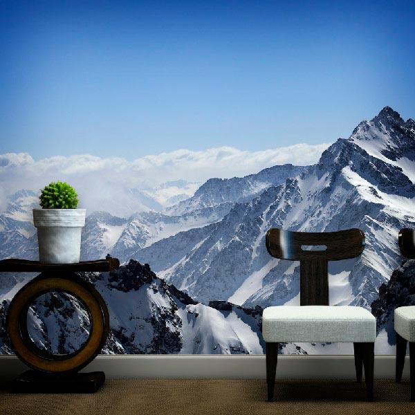 Colores para decorar en invierno Foto mural montaña nevada
