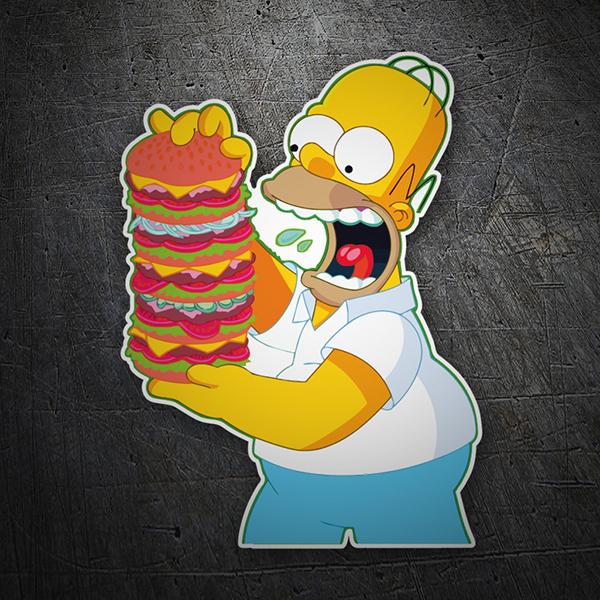 Pegatina Homer Simpson hamburguesa gigante