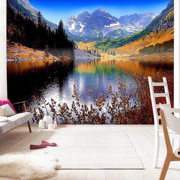 decoracion veraniega Lago y montañas fotomural