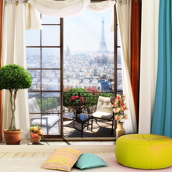 Decoración Veraniega Terraza en París Fotomural