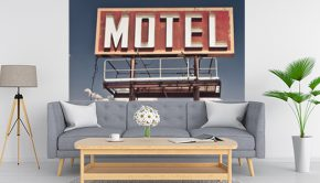 Salón con vinilo de escena de cine motel ruta 66.