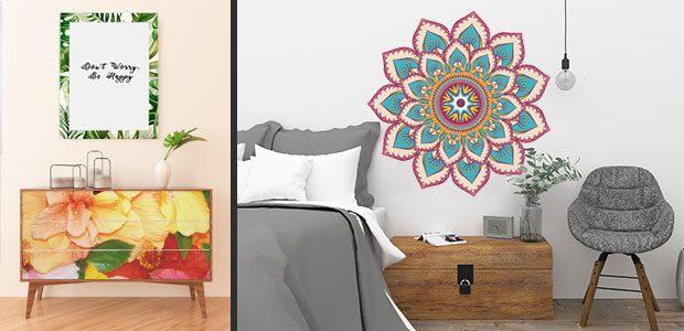Ejemplos de decoración con vinilos adhesivos con motivos de color. Restauración de mueble y mandala en un dormitorio.