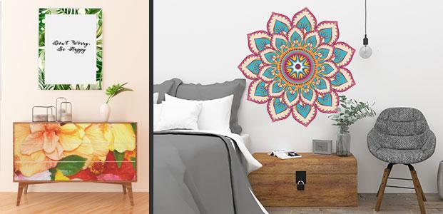 Ejemplos de decoración con vinilos adhesivos con motivos de primavera. Restauración de mueble y mandala en un dormitorio.
