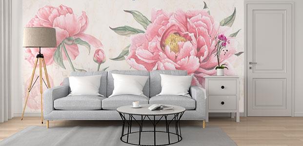 Salón decorado con fotomural de flores rosas de primavera.