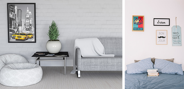 Habitación decorada con pósters adhesivos de distintas temáticas.