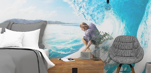 habitación estilo surfera decorada con un fotomural