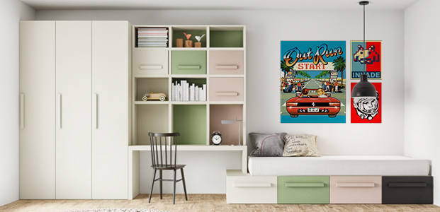 Habitación decorada con póster estilo años 90