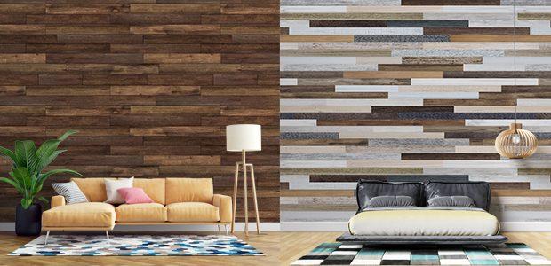 Decoración de pared con vinilos de madera
