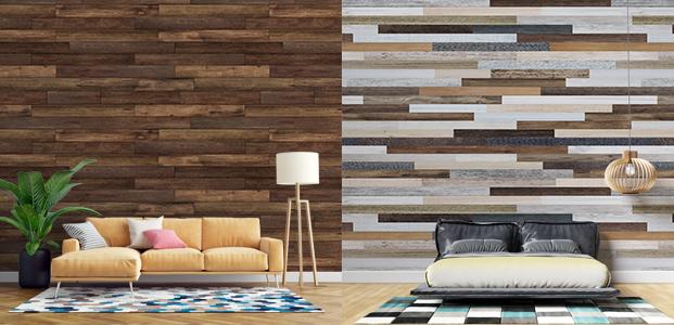 Decorqación de pared con vinilos de madera