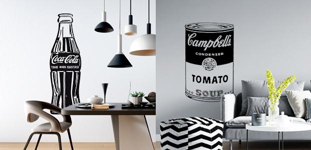 Vinilos adhesivos de Coca cola y la lata de sopa Campbell