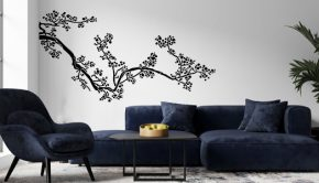 Vinilo decorativo del floral Kamatsu de estilo oriental.