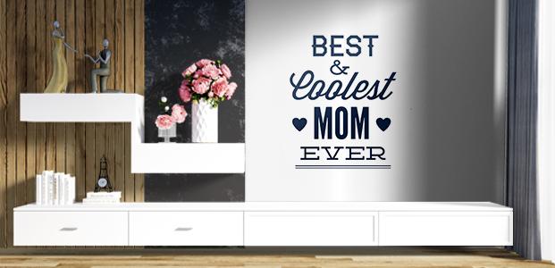 Vinilo decorativo con la frase Best & Coolest Mom Ever