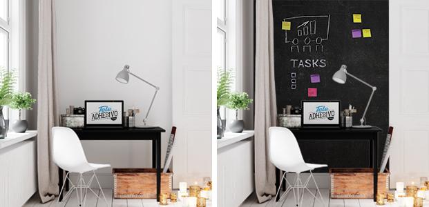 Vinilo de pizarra para decorar y organizar tu escritorio.