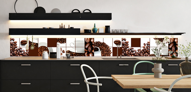 Cenefa adhesiva XXL con diseño de azulejos de café.