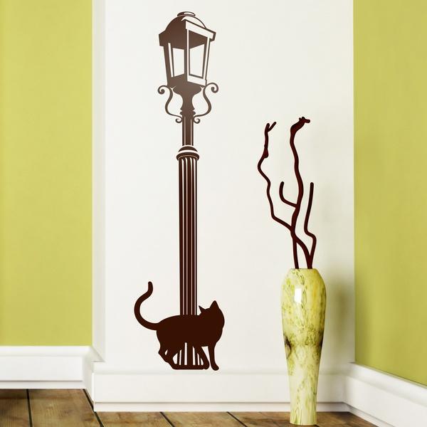 vinilos decorativos farola y gato
