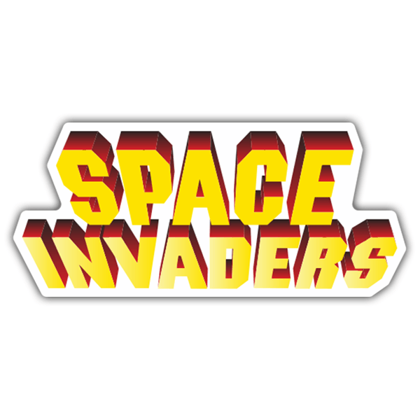 Pegatinas: Space Invaders 3D Blanco