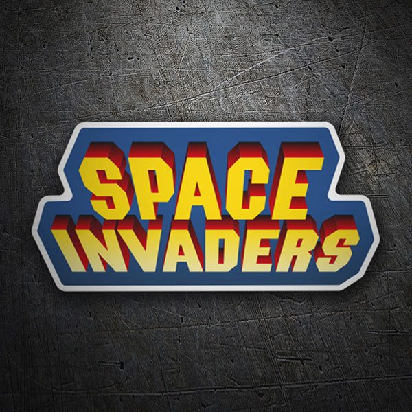 Pegatinas: Space Invaders 3D Azul