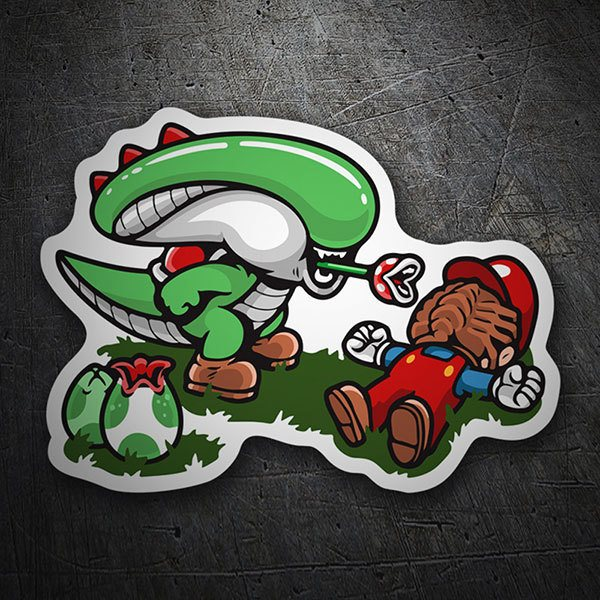 Pegatinas: Alien vs Mario Bros