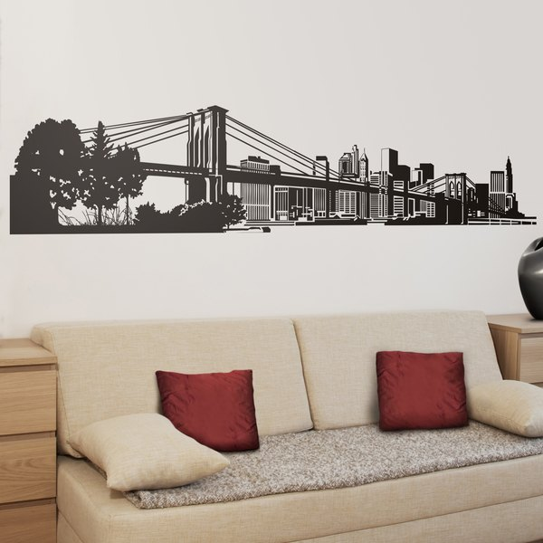 Vinilo decorativo skyline de nueva york for Vinilos pared ciudades