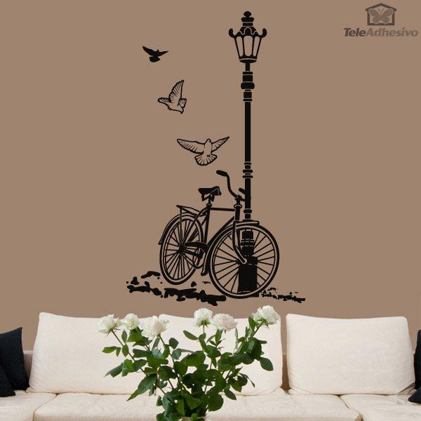 Vinilo decorativo de bicicleta y farola for Vinilos pared blancos
