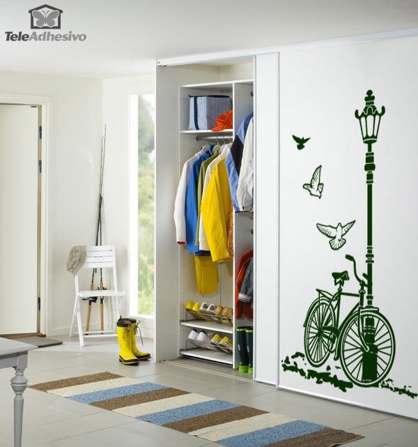 Vinilo decorativo de bicicleta y farola - Vinilo para decorar ...