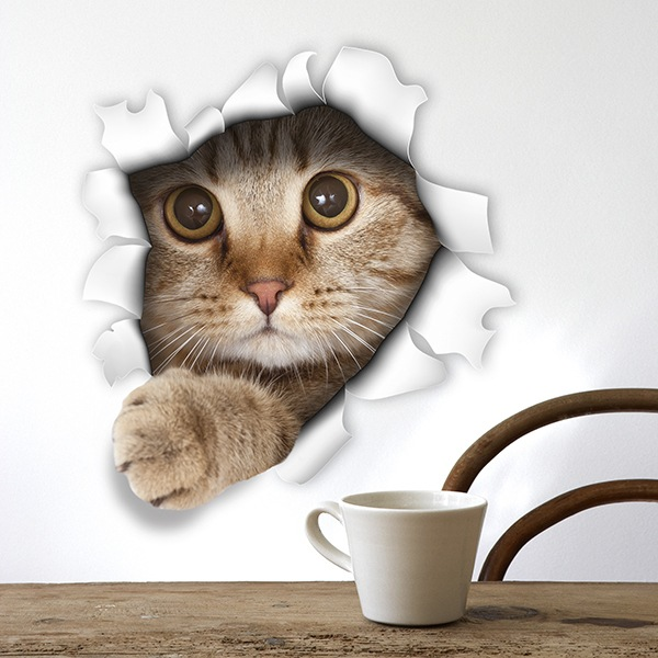 Pegatina agujero gato asoma la patita - Vinilos decorativos gatos ...