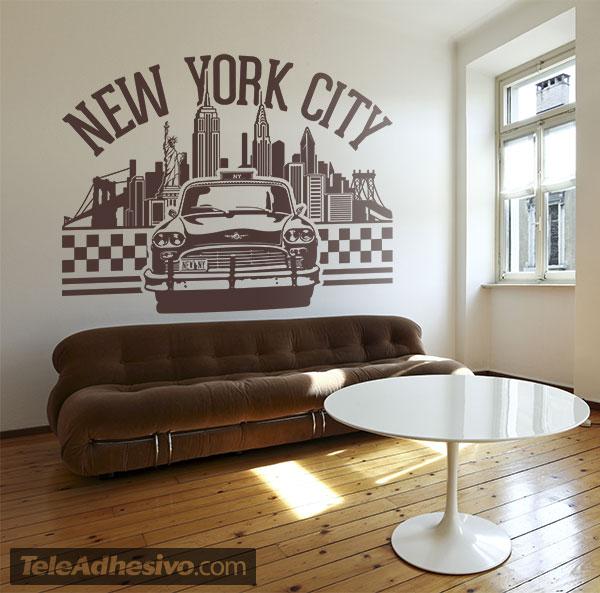 Vinilo skyline nueva york taxi chequer y letras new york city for Vinilos pared new york