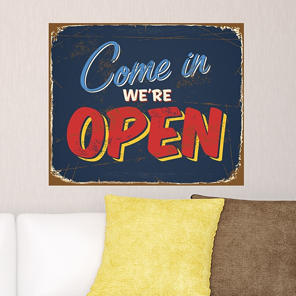 Vinilos Decorativos: Señal retro Come in We are open