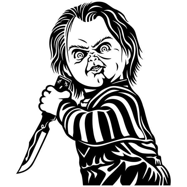 Chucky Clipart Black And White: Vinilo Decorativo Chucky El Muñeco Diabólico