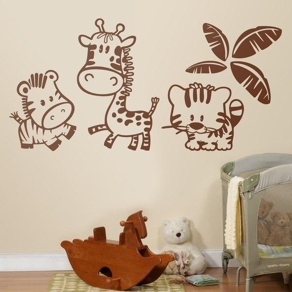 Vinilo infantil kit de cebra jirafa y tigre bajo una palmera for Vinilos para piezas
