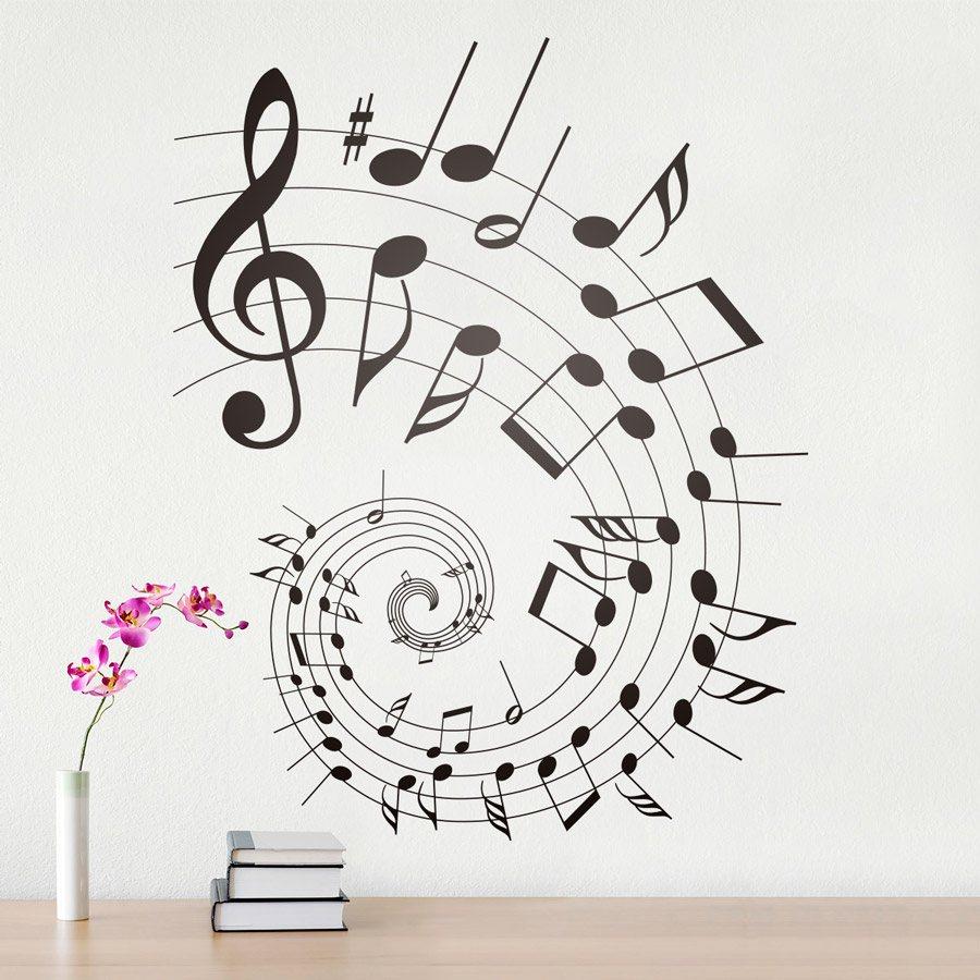 Vinilo de m sica pentagrama o partituraen espiral armony for Vinilos decorativos sobre musica