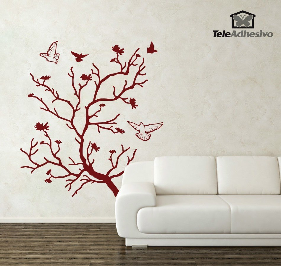 Vinilo decorativo rbol en oto o y palomas - Vinilos decorativos arbol ...