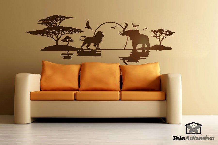 Vinilo decorativo sabana africana panorama de frica - Vinilos para paredes de salon ...